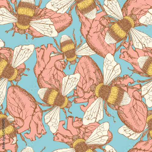 Cotton fabric Sketch bee and heart  in vintage style