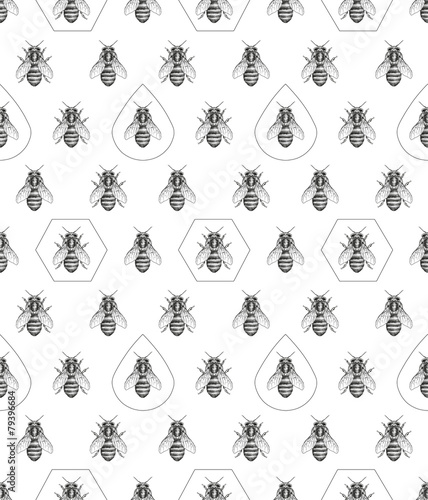 Cotton fabric Bees texture. Seamless pattern.