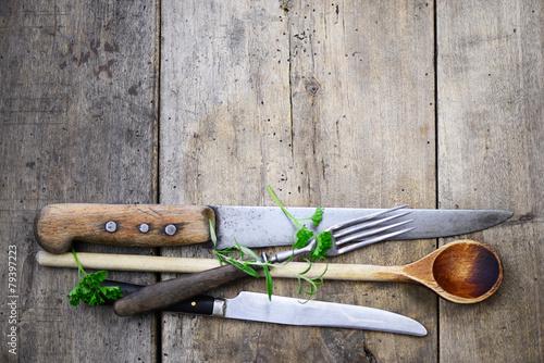 Fotografie, Obraz  Holzlöffel Messer