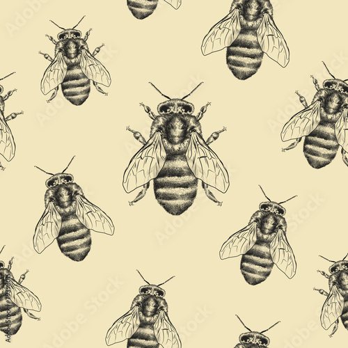 Cotton fabric Bees texture. Seamless pattern