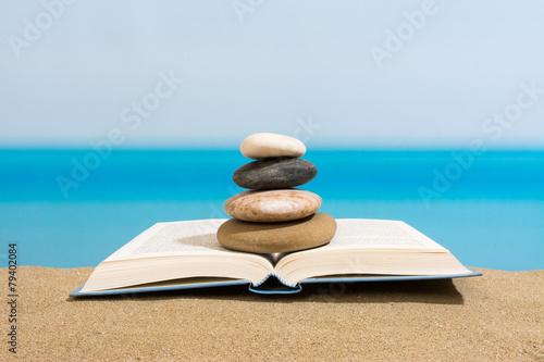 Tuinposter Stenen in het Zand Book on the beach in relax