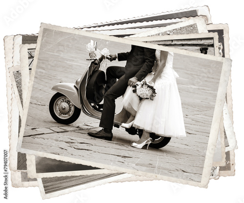 Spoed Foto op Canvas Scooter Vintage photos with newlywed