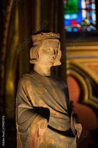 Cuadros en Lienzo París - Sainte Chapelle. Estatua de Luis IX Rey de Francia