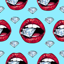 Bright Lips Holding A Sparkling Brilliant. Seamless Pattern