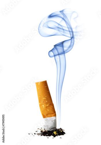 Fotografija  Cigarette stub with smoke