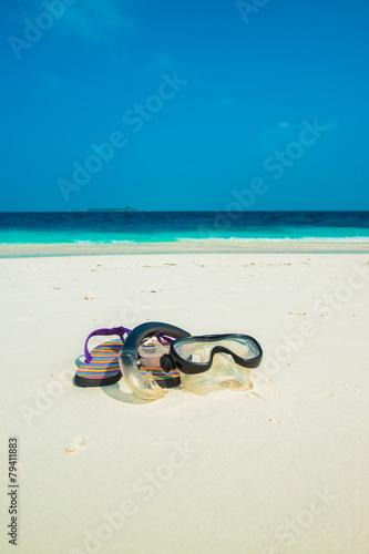 Sand beach and ocean wave, South Male Atoll. Maldives Wallpaper Mural