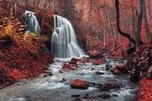 Beautiful Waterfall In Autumn ...