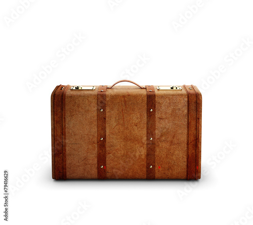 Foto browh leather suitcase