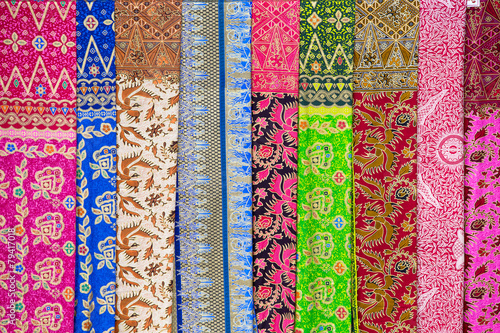 Tuinposter Indonesië Assortment of colorful sarongs for sale, Bali, Ubud, Indonesia