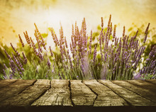 Wooden Table With Lavender
