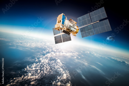 Photo  Space satellite over the planet earth