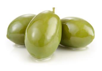 FototapetaGreen olives isolated on white