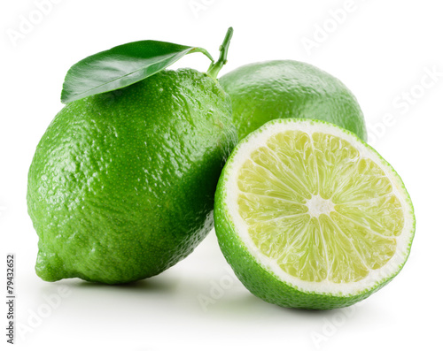 Valokuva Lime. Group of fruit isolated on white