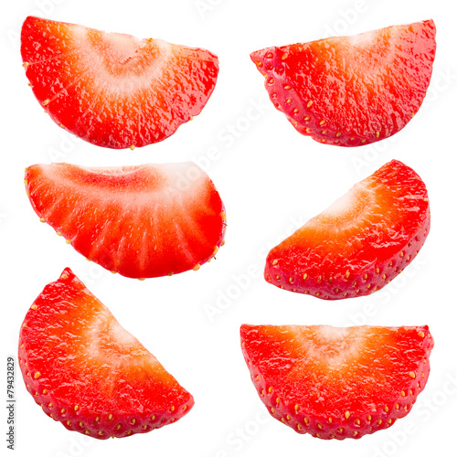 Strawberry. Piece and slice isolated. Collection. Clipping path
