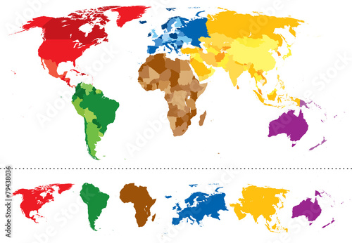 World map continents multicolored Poster