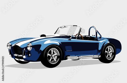 Photo  Classic sport blue car AC Shelby Cobra Roadster