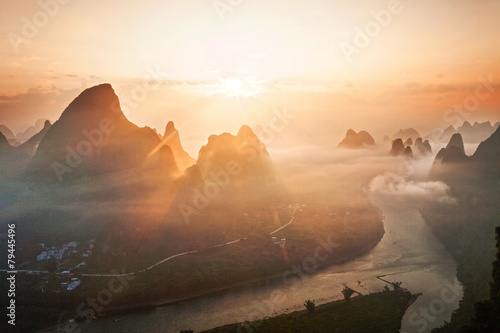 Poster Guilin sky,mountains and landscape of Guilin
