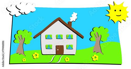 Dessin Maison Avec Prairie D Enfant Buy This Stock Vector And