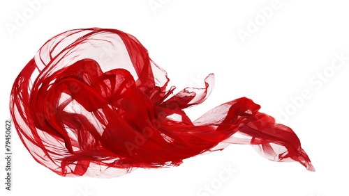 Poster Tissu Red Cloth Isolated Over White Background, Fabric Freeze Motion