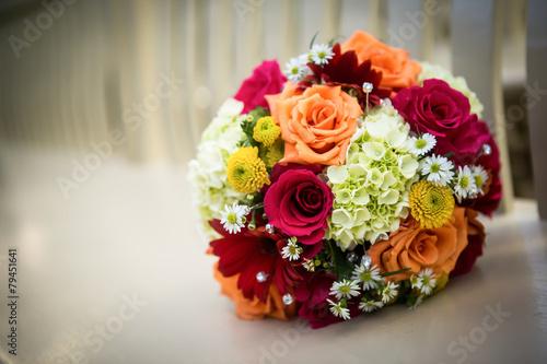 Fotografie, Obraz  Orange, yellow, white wedding bouquet