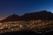 canvas print picture - View of Table Mountain at sunrise, Cape Town, South Africa from Lions Head Mountain