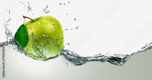 Green Apple amid splashing water. Wallpaper Mural