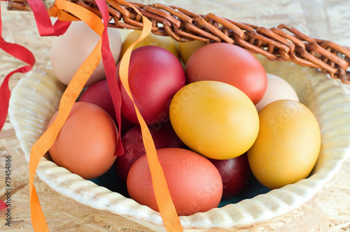 Fotografie, Obraz  Easter colorful eggs and withe