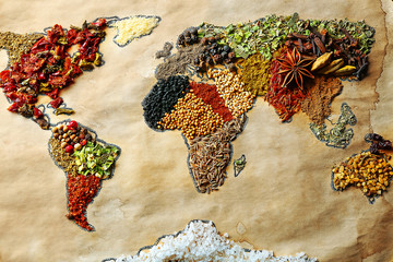 Fototapeta Przyprawy Map of world made from different kinds of spices, close-up