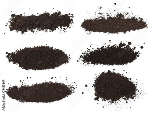 set pile dirt isolated on white background with clipping path Fotobehang