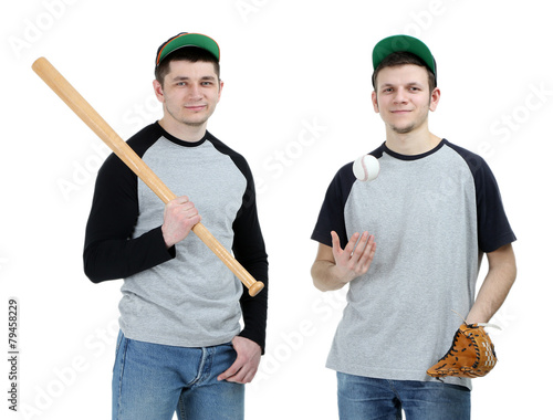 Photo  Two handsome young men with bat and glove for baseball isolated
