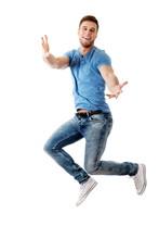Handsome Man Jumping For Joy.