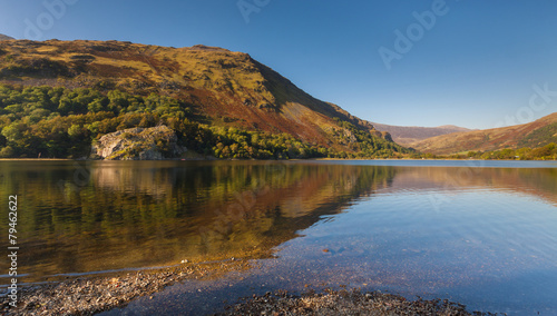 Reflections of Autumn Colours in a Snowdonia Lake #79462622