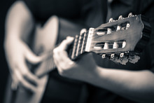 Musician Hands Playing An Acou...