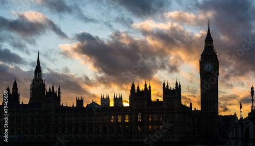 Foto op Canvas Londen Westminster palace and Big Ben in London at sunset
