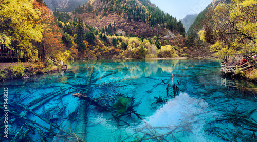Autocollant pour porte Chine Jiuzhaigou National Park,Sichuan China