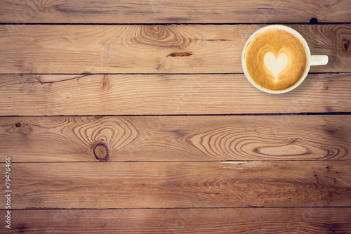 Türaufkleber Holz coffee on wood table texture with space for text