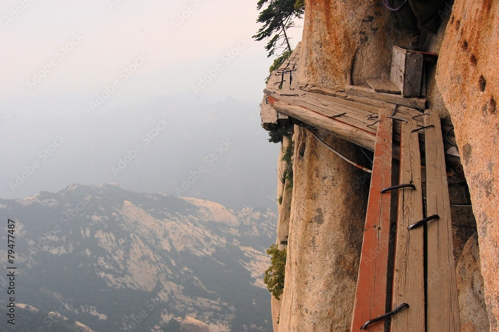 Fototapety, obrazy: Dangerous walkway at top of holy Mount Hua Shan, China