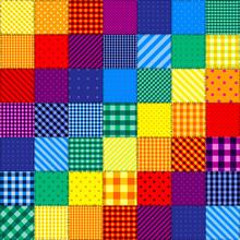 Patchwork Pattern Of Rainbow C...