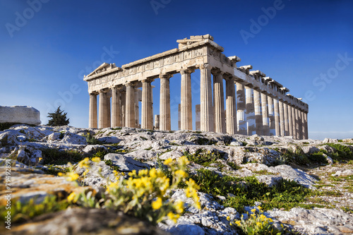 Photo Parthenon temple  on the Athenian Acropolis in  Greece
