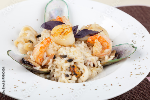 Poster Coquillage risotto with seafood