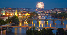 Panorama Of Prague After Sunset With Fireworks