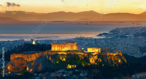 Poster Athens Panorama of Athens, Greece. After sunset. Parthenon and Herodium
