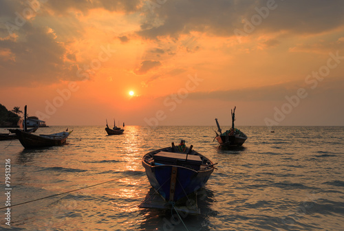 Foto auf AluDibond Pier The fishing boat with a beautiful sunset, Thailand