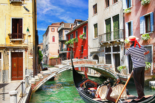 Tuinposter Gondolas Venetian vacations. colorful sunny canals of beautiful city