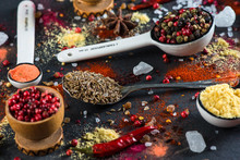 Spice Selection From All Around The World, On Black Background