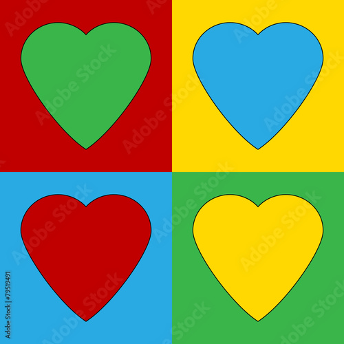 Valokuva Pop art heart symbol icons.