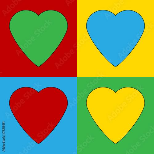 Fotografía Pop art heart symbol icons.