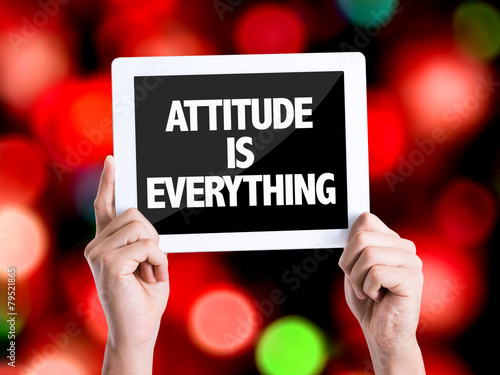 Tablet pc with text Attitude is Everything with bokeh Tablou Canvas