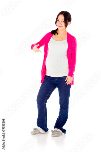 4cf9ee392fd1d Pregnant asian woman isolated on white pointing to herself - Buy ...