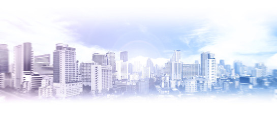 Collage of the business city of Bangkok in blue tones